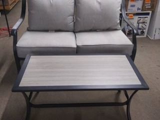 patio loveseat and table with grey metal set of 2