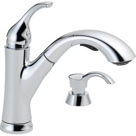 Delta Kessler Chrome 1 Handle Handle Pull Out Sink Counter Mount Traditional Kitchen Faucet as is