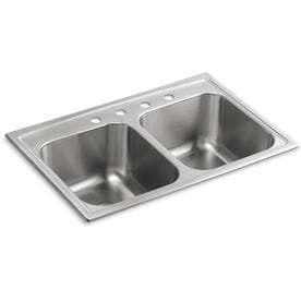 KOHlER Toccata 18 Gauge Double Basin Drop In Stainless Steel Kitchen Sink