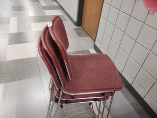 lot of 3 Maroon Chairs