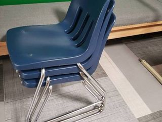 lot of 3 Blue Plastic Chairs