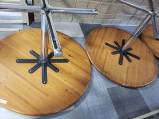 lot of 2 Round Wood Tables