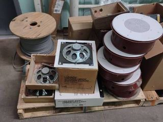 Pallet of Ceiling Speakers and Spool of Wire