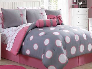 Full   Pink 005CGrey  VCNY Sophie Contemporary 10 piece Bed in a bag with Sheet Set Retail 86 49