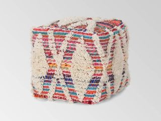 Harper Boho Wool and Chindi Pouf by Christopher Knight Home
