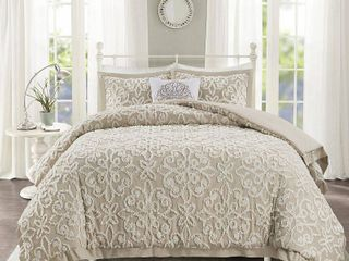 Taupe   Full   Queen  Madison Park Sarah White Tufted Comforter 4 Piece Set
