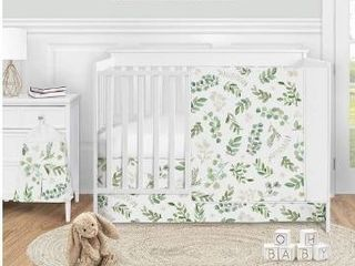 Floral leaf Collection Girl 4pc Nursery Crib Bedding Set   Green White Boho Watercolor Botanical Woodland Tropical Garden Retail 149 49