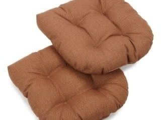 Mocha  Blazing Needles 19 inch All Weather Chair Cushions  Set of 4