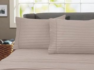 Porch   Den Jericho Stripe 600 Thread Count Egyptian Cotton Bed Sheet Set  Taupe   Queen