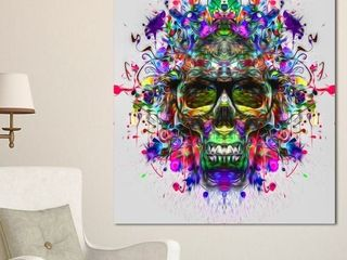 Designart skull with glasses and paint canvas 30x40