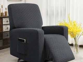 Enova Home Ultra Soft Rhombus Stretch Fabric Recliner Slipcover with Elastic Bottom Side Pocket Grey