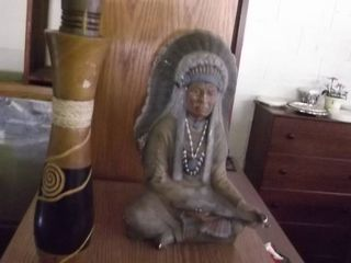 Indian Chief statue and unique bottle