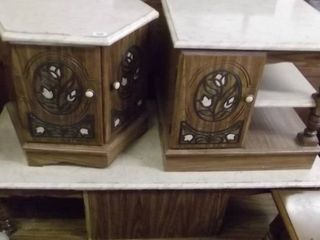 2 marble top end tables