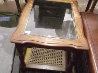 wood and glass end table w wicker base