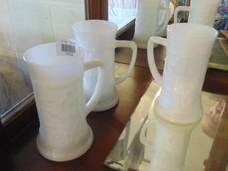 3 milk glass mugs