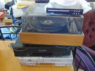 DVD VHs combo   5 CD player   Turntable   DVD player