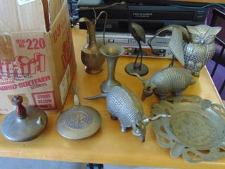 lot of brass animals and items