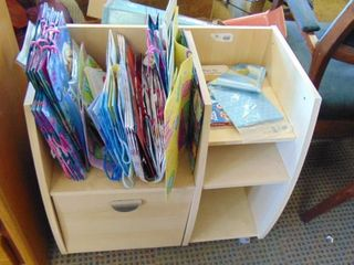 wrap station   gift bags   file drawer   rolling