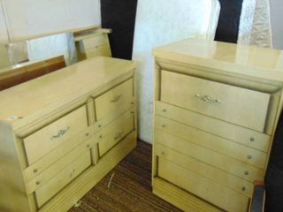 blonde bedroom set   dresser   chest   headboard   mirror