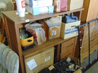 wood shelving unit   contents not included