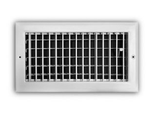 Everbilt 12 in  x 6 in  1 Way Steel Adjustable Wall Ceiling Register in White  Powder Coat White