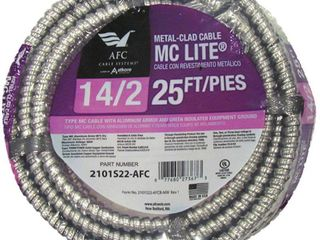 AFC Cable Systems 2101S22 AFC 25 ft  14 2 THHN Metal Clad Cable With Green Ground  Aluminum
