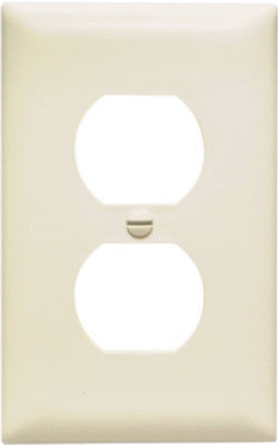 PASS   SEYMOUR TP8lACC100 1 Gang 1 Duplex Outlet Opening Nylon Wall Plate  Almond