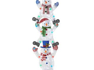 Home Accents Holiday 7 ft Icicle Shimmer lED Stacked Snowmen