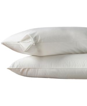 Pair of Aller Ease 2 Pack Hot Water Washable Pillow Protector  White  Standard Queen