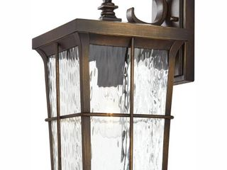 Home Decorators Collection Barrington 1 light Golden Bronze Outdoor 14 in  Wall lantern Sconce with Clear Water Glass