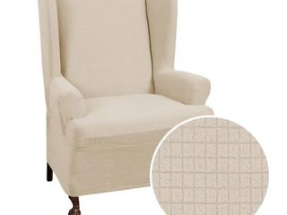 Zenna Home Small Rectangle Patterned 1 Piece Wing Chair Stretch Slipcover  Sand