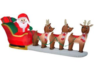 Home Accents Holiday 12 ft Pre lit lED Giant Sized Inflatable Santa and Sleigh Scene