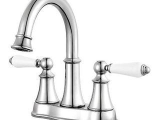 Courant 2 Handle 4  Centerset Bathroom Faucet in Polished Chrome   White