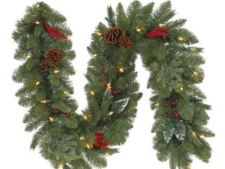 Holiday Accents  6 ft  Artificial Christmas Garland w  130 Tips  35 Warm White lights and Timer
