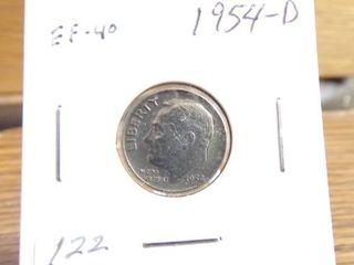 1954 D Roosevelt Dime EF40