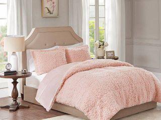 3pc Full Queen Zoe Faux Mohair Reverse Comforter Set Blush