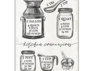 10 x 15   Stupell Industries Kitchen Conversion Chart Neutral Grey Word Drawing Design Wood Wall Art