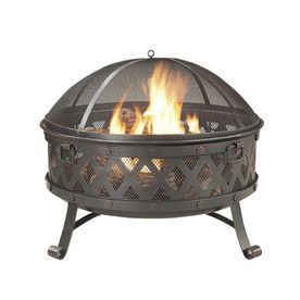 Garden Treasures 35 4 in W Black High Temperature Paint with Golden Red Brushed Steel Wood Burning Fire Pit
