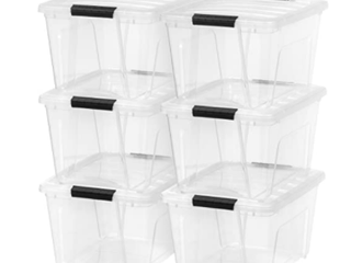 IRIS USA TB 28 Stack   Pull Box   31 75 Quart   Clear 6 Pack Storage Containers w lid  minus one broken lid