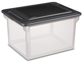 Sterilite 18 5  x 14  Plastic File Box Clear Black   Set of 4 Minus One lid