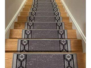 Stair Treads Skid Slip Resistant Backing Indoor Carpet Stair Treads Trellis Border Design 8 1 2 inch x 26 1 4 inch  Set of 13