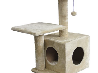 Amazonbasics Dual Post Indoor Cat Tree Tower With Cave   23 X 18 X 29 Inches