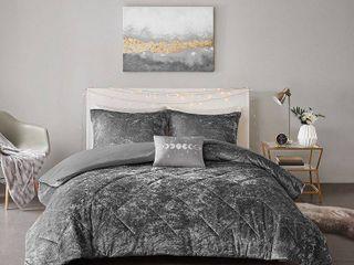 Alyssa Full Queen 3pc Velvet Duvet Cover Set Gray