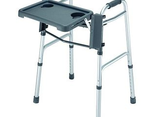 DMI Folding Walker Tray with Cup Holders  Tool Free  locks in Place  Gray  18 5 Inches