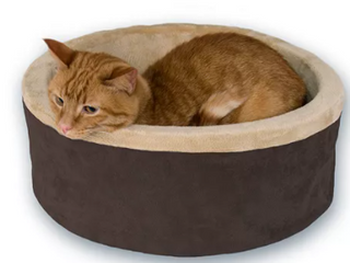K H Heated Pet Bed Brown and Tab
