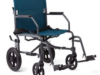Medline Steel Transport Chair Wheelchair with Microban Antimicrobial Treatment  lightweight and Portable  large 12in Back Wheel  19in Seat Width  Teal
