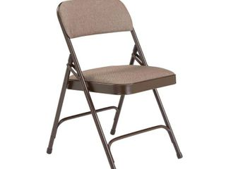 2200 Series Fabric Upholstered Double Hinge Premium Folding Chair  Russet Walnut  Pack of 4