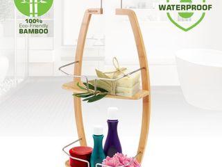 Serenelife SlSHCD45   Bamboo Shower Caddy   Hanging Shower Bathtub Caddy Organizer