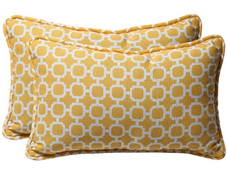 Pillow Perfect Set Of Two Yellow   White Decorative Pillows