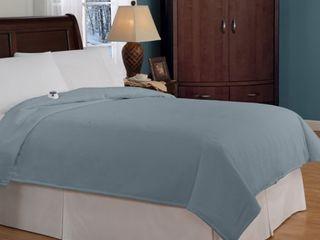Soft Heat Micro Fleece Warming Electric Blanket   Slate Blue  Queen